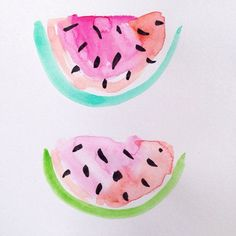 watercolor - watermelon slices with seeds