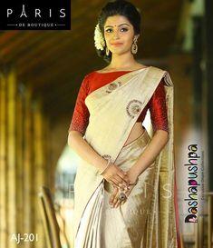 Image may contain: 1 person Kerala Saree Blouse Designs, Saree Blouse Patterns, Blouse Neck Designs, Dress Patterns, Onam Saree, Kasavu Saree, Traditional Sarees, Traditional Dresses, Indian Dresses
