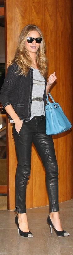 Buy it: Rosie Huntington-Whiteley's Black Leather Pants Look Fashion, Womens Fashion, Fashion Trends, Rosie Huntington Whiteley, Rosie Whiteley, Rose Huntington, Casual Outfits, Cute Outfits, Moda Chic