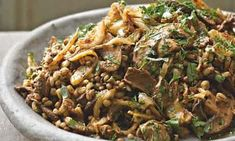 Yotam Ottolenghi's pot barley with lentils, mushrooms and fried onion: