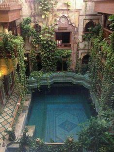 Hanging gardens above pool in courtyard