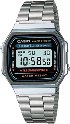 Casio Collection Herren-Armbanduhr Digital Quarz A168WA-1YES - http://uhr.haus/casio/one-size-casio-herren-digital-watch-grau