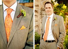 classic groom with a pop of orange. Photo by Bend the Light Photography.