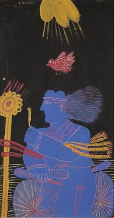 """terminusantequem: """"Alecos Fassianos (Greek, b. BLUE MAN, Tempera on paper, by by """" Classical Period, Classical Art, Hellenistic Period, Minoan, Tempera, Deco, Black Backgrounds, Greece, Contemporary Art"""