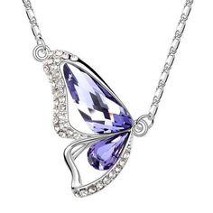 Österreichischen Kristall Schmetterling Lavender Halskette
