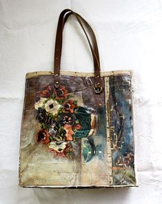 Bags made from vintage canvas paintings.
