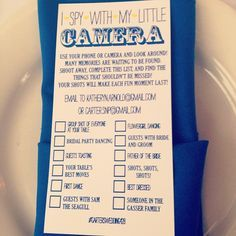 """I know this is for a wedding but what a great idea for a kid's party with disposable cameras! Each little guest gets a camera and an """"I Spy"""" list of things to take pictures of. Things that come to my mind are """"My Best Friend"""", """"My Favorite Game"""", """"Funniest moment"""", etc. If I were a parent I would love to have memories captured by my child :)"""
