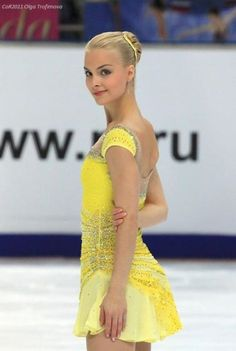 Kiira Korpi - Yellow Figure Skating / Ice Skating dress inspiration for Sk8 Gr8 Designs.
