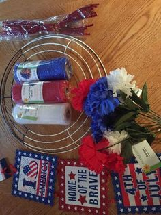Dollar store the of July Wreath Make Your front Door Inviting-for Dollars! - Dollar store the of July Wreath Make Your front Door Inviting-for Dollars! 4th July Crafts, Fourth Of July Decor, 4th Of July Decorations, Patriotic Crafts, 4th Of July Party, July 4th, Patriotic Wreath, 4th Of July Wreaths, Americana Crafts