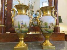 Pair Of Vases Porcelain Baluster Form, Empire Period Vases, Period, Empire, Porcelain, Antiques, Home Decor, Antiquities, Porcelain Ceramics, Antique