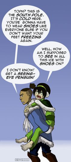 """Seeing-Eye Penguin!"" Yes, yes....I'm a bit of a Tokka shipper. They're so funny together."