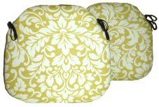 2 Spindle Chair Seat Pads Carlotti Chartreuse