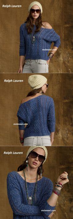 Свободный пуловер спицами от Ralph Lauren | Вяжем с Лана Ви