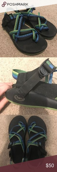 Double strap Chacos with toe loop Green and blue double strapped chacos! Bought from REI, worn for one summer Chaco Shoes