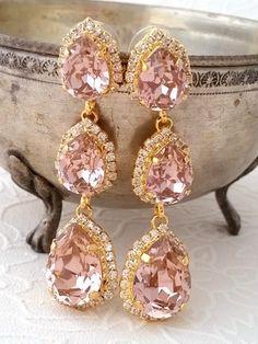 Bridal earrings chandelier swarovski bridesmaid gifts Ideas for 2019 Bridesmaid Earrings, Bridal Earrings, Wedding Jewelry, Dangle Earrings, Bridesmaid Gifts, Pink Earrings, Crystal Earrings, Wedding Shoes, Indian Earrings