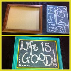 Turned an old frame and blackboard slate into a feature!