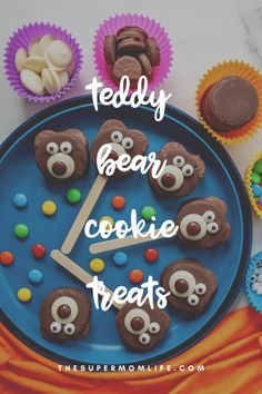 Perfect for #nationalteddybearday, these teddy bear cookie treats are made with just 5 ingredients. The kids will love them! National Teddy Bear Day, Teddy Bear Cookies, Treats, Desserts, Recipes, Kids, Food, Sweet Like Candy, Tailgate Desserts