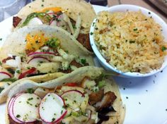 Fish tacos on homemade tortillas at Jojutlas - North Canton, Ohio