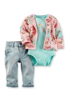 Carters  3-Piece Floral Printed Cardigan Bodysuit and Pant Set BabyInfant Girl