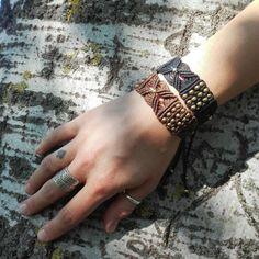 Macrame bracelet with brass beads