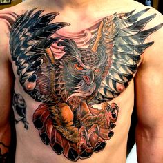 Owl Tattoo on Chest. By: Adam Hays
