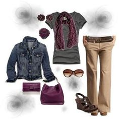 Gray Beige Brown Purple Wine Jeans Outfit Polyvore Fall Outfits | nice fall outfit | Polyvore by pupeditis by Епифанова Ольга