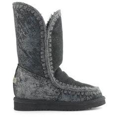 MOU Eskimo Wedge Tall Boots Women Microglitter Black - MOU (349€→260€) #CyberMondayDeals #Cyber Monday #Christmas