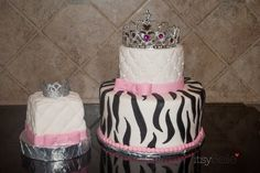 Zebra Print Princess Cake & Smash Cake. Girl First Birthday by Itsy Belle