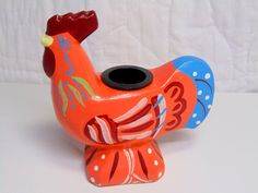 Swedish FOLK ART, Red Dala Rooster by OurVintageHouse on Etsy
