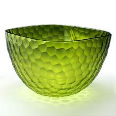 Olive Batutto Square Bowl: Hand-blown and diamond-carved art glass  |  Artists:  Jean Salatino & Steven Gandolfo of Salatino-Gandolfo Glass, Sonoma, CA  |  salatino-gandolfo.com
