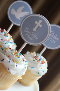 Blue baptism/1st communion/confirmation cupcake toppers; personalized with the child's name and date