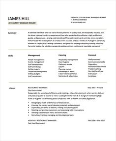 Resume For Restaurant Manager Restaurant Manager Resume Template Sample  Professional Manager