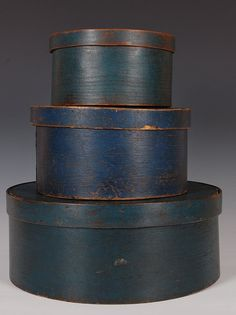 19TH C. PANTRY BOXES IN OLD BLUE PAINT