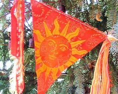 Pagan Hippie Summer Solstice Litha Element of Fire Flag Solstice Festival, Summer Solstice, Wiccan, Magick, Flag Garland, Bunting, Pagan Festivals, Season Of The Witch, Prayer Flags