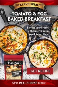 It doesn't take a lot of effort to make a gourmet-tasting breakfast when you've got Sargento® Reserve SeriesTM shredded cheese. Try our Tomato & Egg Baked Breakfast with fresh summer tomatoes and basil. Breakfast Egg Bake, Breakfast For Dinner, Breakfast Dishes, Breakfast Recipes, Breakfast Casserole, Breakfast Ideas, Brunch Dishes, Diet Breakfast, Brunch Ideas