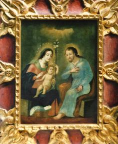 """Sagrada Familia"" colonial venezolano siglo XVIII, ólero/lienzo, med: 56X42  cms. con marco de época."