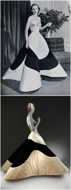 "Above: Austine Hearst in Charles James ""Clover Leaf"" Gown, c. 1953. Courtesy of The Metropolitan Museum of Art, Photographer Unknown, © Bettmann/CORBIS. Below: ""Clover Leaf"" Evening Dress, by Charles James, 1953. White silk satin, white silk faille, black silk-rayon velvet. The Metropolitan Museum of Art, New York. The model in the Met's collection is actually a duplicate of the gown worn by Austine Hearst to the coronation ball in London in June 1953. CLICK THROUGH FOR VERY LARGE IMAGES."