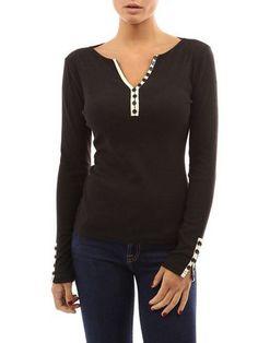 Camiseta manga larga botones-(Sheinside)