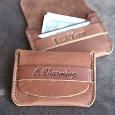 This Babe Personalized Front Pocket Wallet is a unique and timeless item! It is handmade right here in our shop with the finest of Full Grain American leathers.