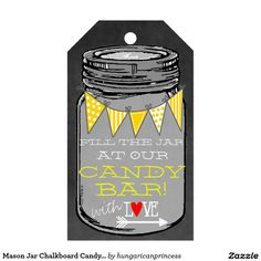 Mason Jar Chalkboard Candy Bar Wedding Guest Favor Pack Of Gift Tags