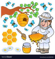 Illustration about Honey bee theme collection - vector illustration. Illustration of branch, clipart, graphic - 25558775 Bee Rocks, Sunflower Wall Decor, Origami Shirt, Fall Preschool Activities, Honey Bee Hives, Bee Embroidery, Bee Movie, Cute Bee, Bee Art