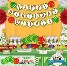 Editable The Cute Caterpillar Happy Birthday/Welcome Baby Banner #veryhungrycaterpillar