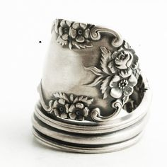 Sterling Silver Rose Ring in Floral Spoon Ring by Spoonier on Etsy