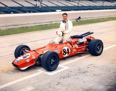 Carl Williams at the 1968 Indy 500.  Williams drove in the USAC Championship Car  series, racing in the 1965-1972 seasons, with 63 career starts, including the Indianapolis 500 in 1966-1970 and 1972. He finished in the top ten 21 times, with his best finish a 2nd place in 1970 at Springfield.