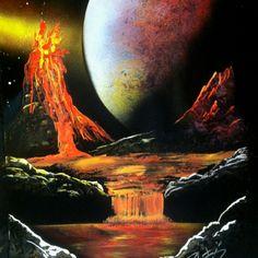 Volcano spray painting -art by Robert Stevens