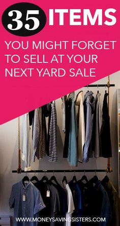 Here's a list of 35 items that you might look over when gathering your yard sale items.but you should DEFINITELY sell them! Here's a list of 35 items that you might look over when gathering your yard sale items.but you should DEFINITELY sell them! Garage Sale Organization, Garage Sale Tips, Garage Sale Pricing, Yard Sale Signs, For Sale Sign, Car Boot Sale Display, Yard Sale Displays, Sale Signage, Sell Your Stuff