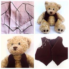 A waistcoat for Nonno bear: a free, simple, Build-a-Bear pattern & sewing tutorial.  (www.hodgepodgecraft.com, teddy, sew, handmade, gift, children, kids, toddler, pre-schooler, boy, girl)