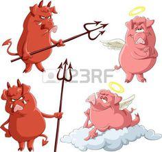 Caricature porcelets anges et Demons