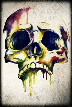 watercolour painting of a skull - Google Search