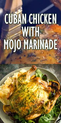 Cuban Mojo Chicken - Cuban mojo marinade with citrus and spices for tender, juicy flavorful chicken in the oven or on th - Chicken Marinade Recipes, Chicken Recipes Video, Chicken Flavors, Baked Chicken Recipes, Citrus Marinade For Chicken, Chicken Quarter Recipes, Mojo Chicken, Cuban Chicken, Mojo Pork